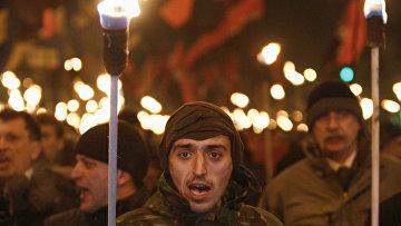 Активисты партий «Свобода» и «Правый сектор» на празновании 106-летия Степана Бандеры в Киеве