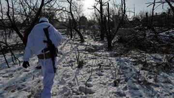 Солдат ВСУ в районе Авдеевки, Украина. 10 февраля 2017