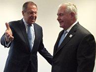 Министр иностранных дел РФ Сергей Лавров и государственный секретарь США Рекс Тиллерсон на встрече глав МИД G20 в Бонне. 16 февраля 2017
