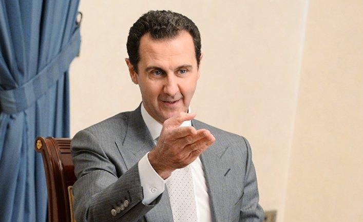 Президент Сирии Башар Асад во время встречи с заместителем председателя правительства РФ Дмитрием Рогозиным в Дамаске