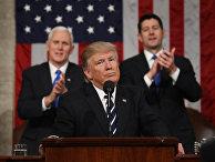 Президент США во время выступления перед палатами Конгресса в Вашингтоне, США. 28 февраля 2017 года