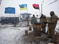Лагерь участников торговой блокады Донбасса у станции Кривой Торец, Донецкая область