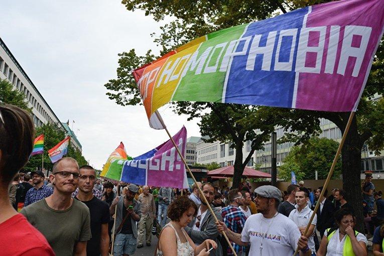 Акция в поддержку российского ЛГБТ-сообщества в Берлине