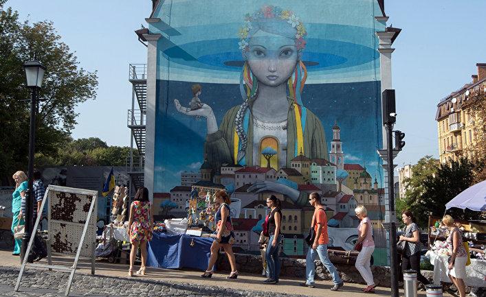 Граффити на одной ил улиц в центре Киева