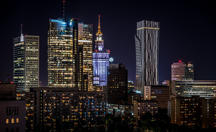 Ночная Варшава, Польша
