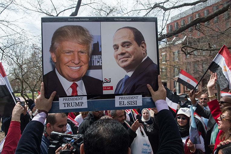 Сторонники президента Египта Абдель Фаттах Аль-Сиси у Белого дома в Вашингтоне