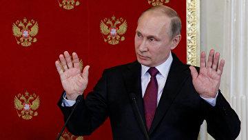 Президент РФ Владимир Путин во время пресс-концеренции в Кремле