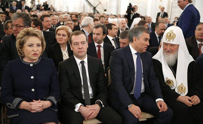 Председатель правительства РФ Дмитрий Медведев перед началом ежегодного послания президента РФ Владимира Путина Федеральному Собранию в Кремле. 1 декабря 2016