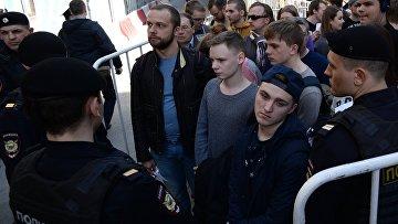 """Несанкционарованная акция движения """"Открытая Россия"""" в Москве"""