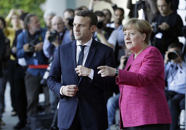 Встреча канцлера Германии Ангелы Меркель и президента Франции Эммануэля Макрона в Берлине