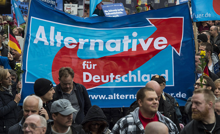Сторонники партии «Альтернатива для Германии» во время демонстрации Берлине