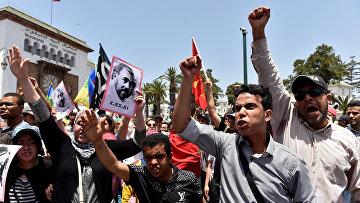 Акция протеста против коррупции и должностных злоупотреблений в Рабате, Марокко