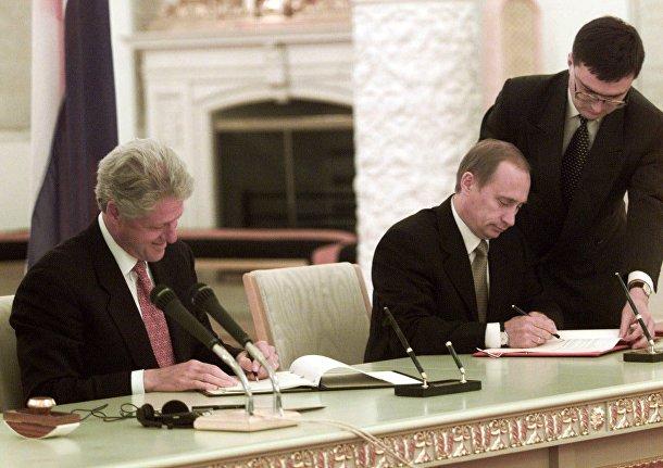 Президент США Билл Клинтон и президент Российской Федерации Владимир Путин