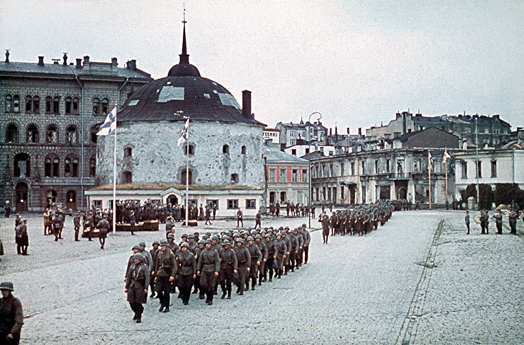 Парад финских войск в Выборге 31 августа 1941 года