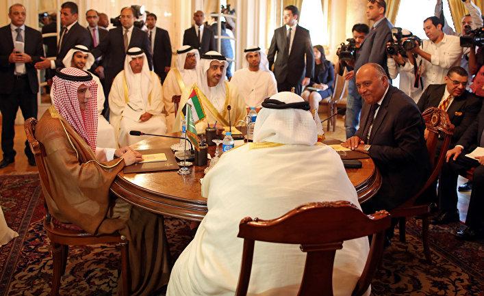 Заседание глав МИД Саудовской Аравии, ОАЭ, Бахрейна и Египта в Каире. 5 июля 2017