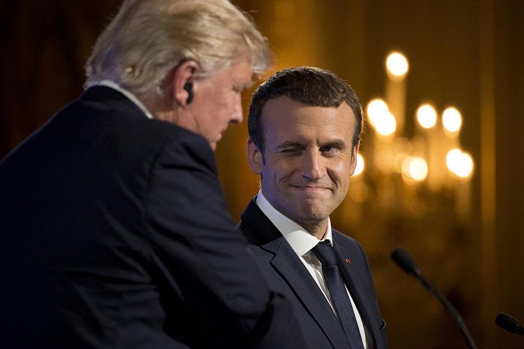 Президент Франции Эммануэль Макрон и президент США Дональд Трамп