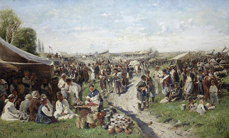 В. Маковский. Ярмарка (Малороссия), 1885 год (холст, масло 113х 180 см)