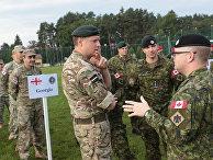 Военнослужащие армий Грузии, Венгрии и Канады на церемонии открытия военных учений Rapid Trident-2017 на Яворовском полигоне в Львовской области. 11 сентября 2017