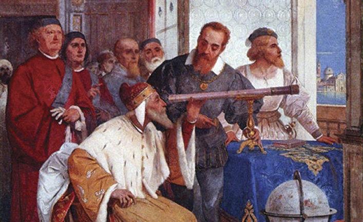 Галилей показывает телескоп венецианскому дожу (фреска Дж. Бертини)