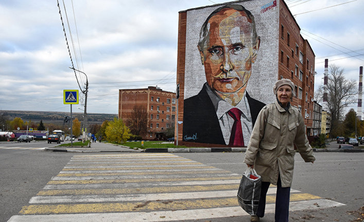 Граффити, изображающее президента России Владимира Путина в городе Кашира