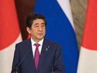 Премьер-министр Японии Синдзо Абэ во время пресс-конференции по итогам встречи с президентом РФ Владимиром Путиным. 27 апреля 2017
