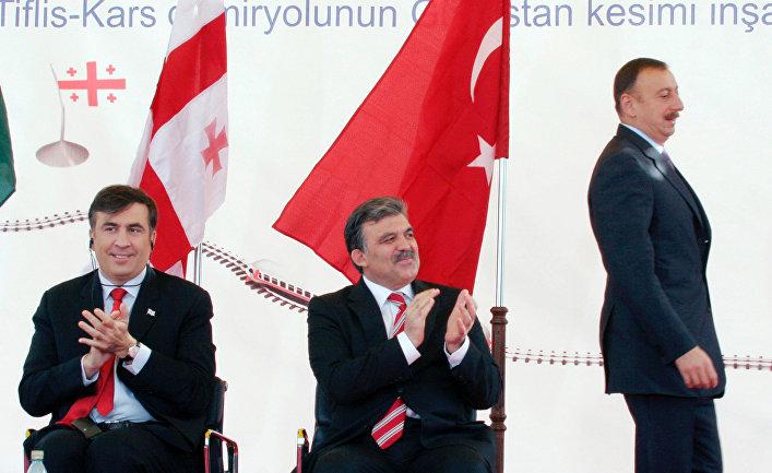 Церемония начала строительства железной дороги Баку–Тбилиси–Карс