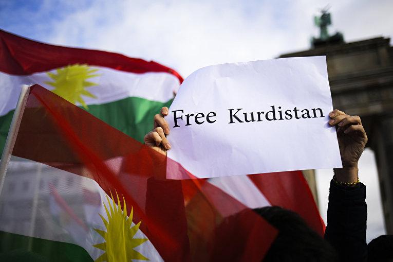 Акция в поддержку независимости Курдистана в Берлине