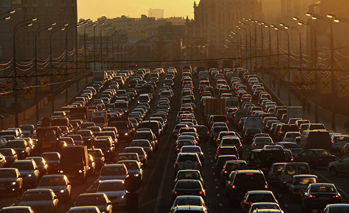 Автомобильные пробки на улицах Москвы