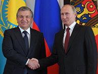 Президент РФ Владимир Путин и президент Узбекистана Шавкат Мирзиеев на церемонии официальной встречи глав государств - участников СНГ. 11 октября 2017