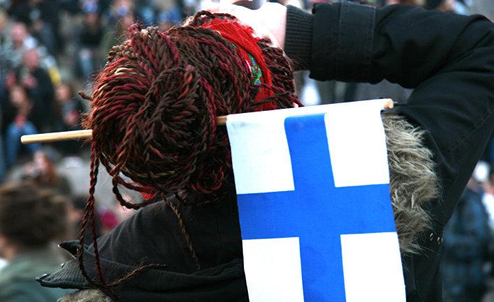 Хоккейная болельщица в Финляндии