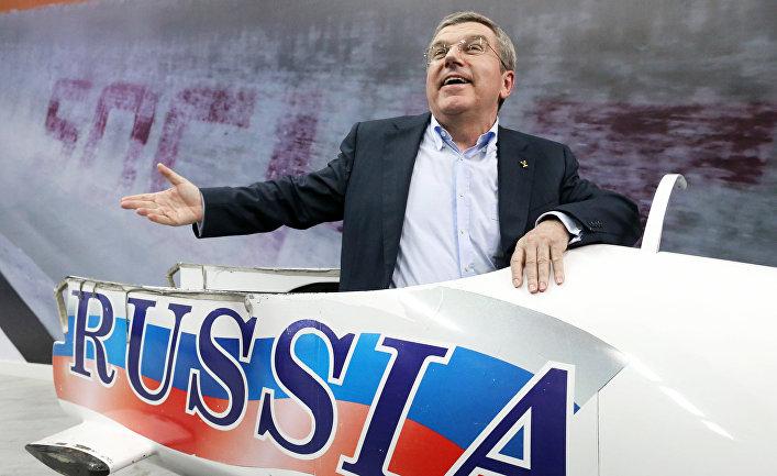 Глава МОК Томас Бах во время Олимпийских игр в Сочи