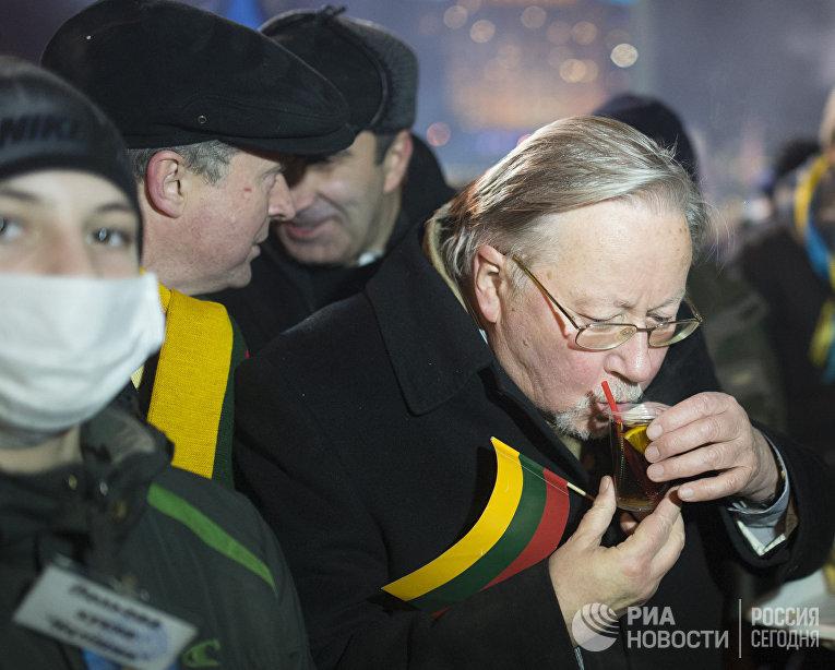 Бывший председатель верховного Совета Литвы Витаутас Ландсбергис во время акции сторонников евроинтеграции на Площади Независимости в Киеве