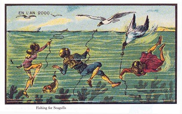 Карточка серии «Франция в 2000 году» — «Подводная рыбалка»