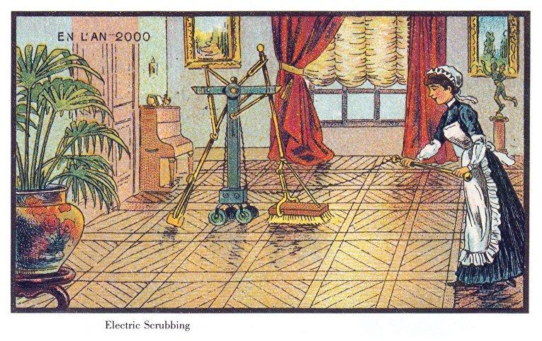 Карточка серии «Франция в 2000 году» — «Электрическая уборка»
