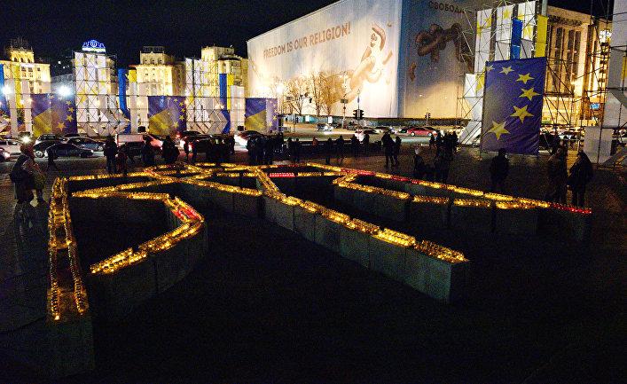 Участники акции в Киеве, посвященной годовщине начала событий на Майдане. 21 ноября 2017