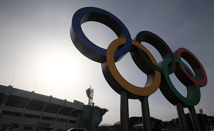 Олимпийские кольца в Олимпийском парке в Пхенчхане