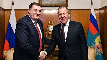 Министр иностранных дел РФ Сергей Лавров и президент республики Сербской Боснии и Герцеговины Милорад Додик во время встречи