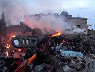 Обломки сбитого боевиками российского самолета Су-25 близ Идлиба в Сирии. Фото из социальных сетей