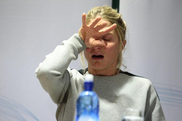 Норвежская лыжница Терезе Йохауг во время пресс-конференции в Осло, Норвегия