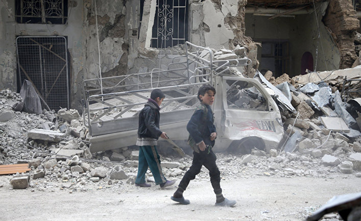 Разрушения в городе Дума, Восточная Гута