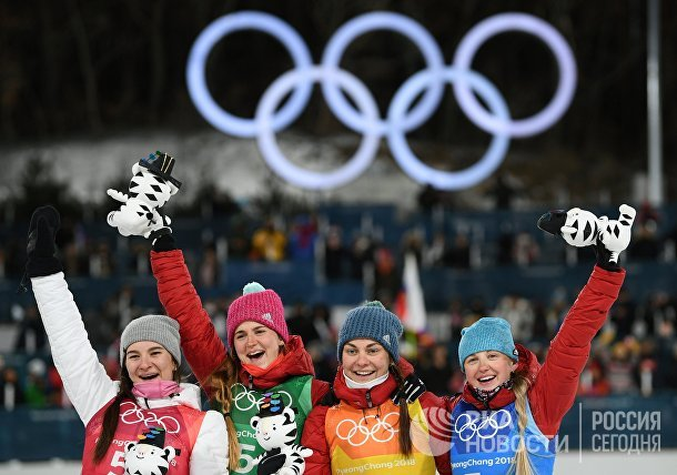 Олимпиада 2018. Лыжные гонки. Женщины. Эстафета
