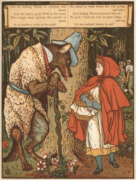 Гравюра по рисунку Уолтера Крейна к сказке «Красная Шапочка»