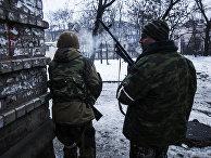 Пророссийские ополченцы в районе Донецкого аэропорта