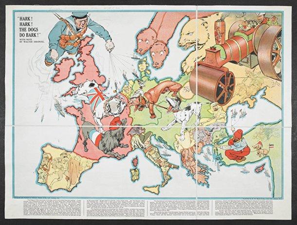 Европа на английской карте 1914 года