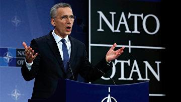 Генеральный секретарь НАТО Йенс Столтенберг на пресс-конференции в штаб-квартире Североатлантического союза в Брюсселе, Бельгия. 15 марта 2018