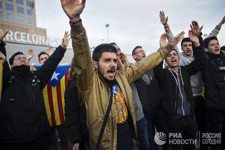 Акция против ареста К. Пучдемона в Барселоне