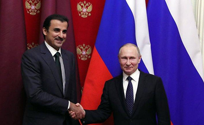 Президент РФ В. Путин встретился с эмиром Катара Тамимом бен Хамадом Аль Тани