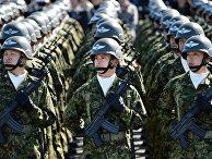 Японские солдаты во время военного обзора на полигоне Асака