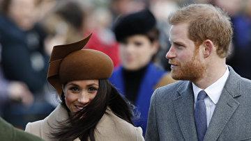 Актриса Меган Маркл и Британский принц Гарри перед традиционной рождественской службой королевской семьи в церкви Св. Марии Магдалины в Сандрингеме, Норфолк, восточная Англия. 25 декабря 2017