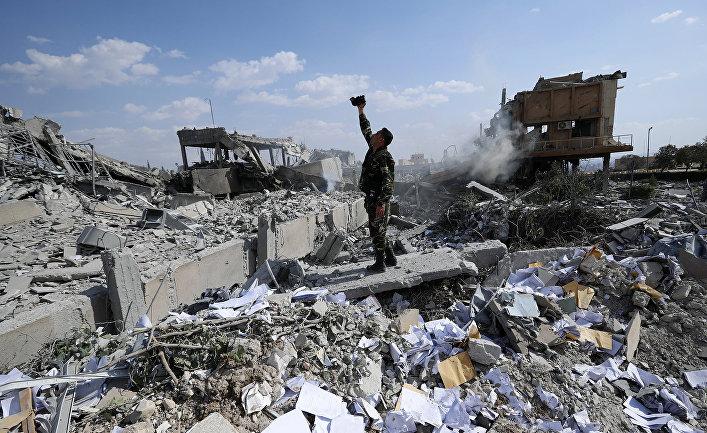 Разрушенный Научно-исследовательский центр в Дамаске, Сирия